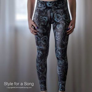 Marika Charcoal Grey Blue Rose Workout Legings